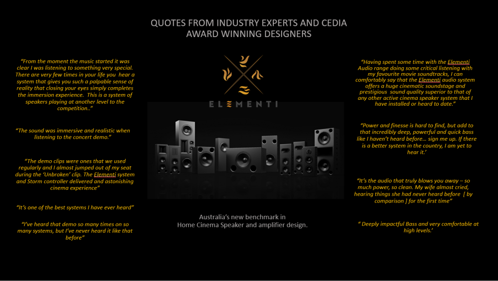 QUOTES FROM INDUSTRY EXPERTS AND CEDIA AWARD WINNING DESIGNERS